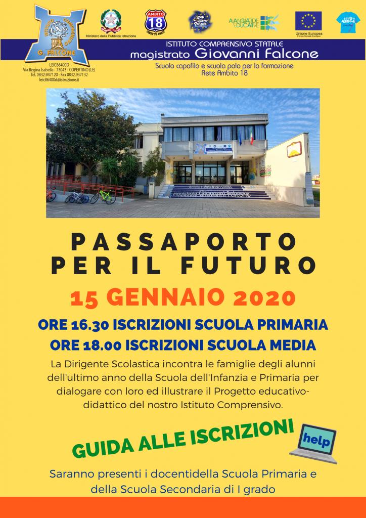Manifesto evento  ORE 16.30 iscrizioni scuola primaria ORE 18.00 iscrizioni scuola media